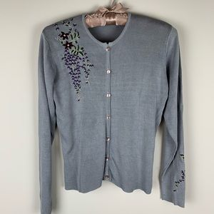 Anthropologie Embroidered silk grey cardigan